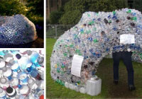 This is an igloo made of recycled plastic bottles.
