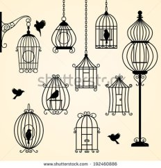 stock-vector-set-of-vintage-bird-cages-vector-illustration-192460886